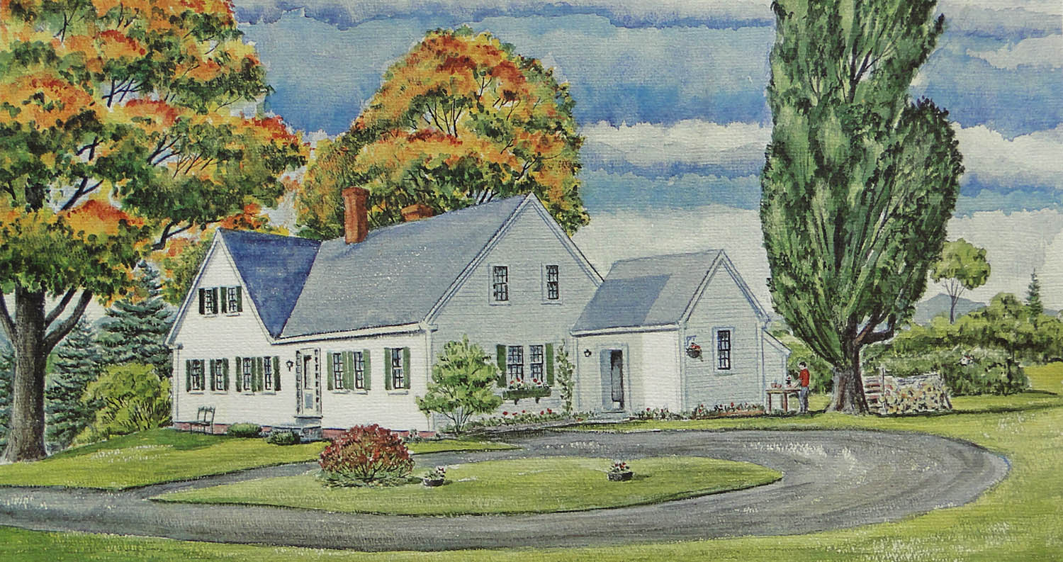 Watercolor of the Nordica homestead.
