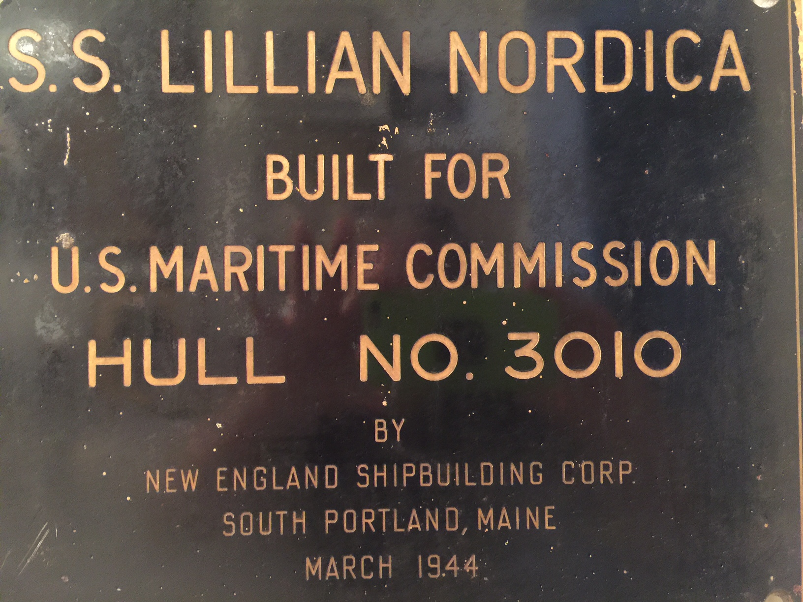 Plaque on SS Lillian Nordica